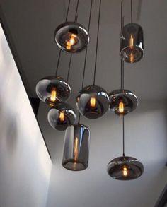 Interior Lighting, Home Lighting, Lighting Design, Pendant Lighting, Ceiling Light Design, Ceiling Lights, Home Living Room, Living Room Designs, Suspension Design