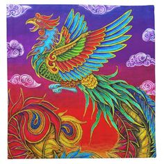 "Fenghuang Chinese Phoenix Rainbow Bird cloth napkins by Rebecca Wang on Zazzle. Make an impression on your guests with these beautiful colorful napkins. Perfect for parties or seasonal events, these 100% cotton napkins print vibrantly with your designs, photos, text, or monogram. With sizes for cocktail parties and dinner parties, you're sure to find a set of custom napkins that will be the center piece of your event. Dinner Napkins are 20""x20"" and Cocktail Napkins are 12""x12""."