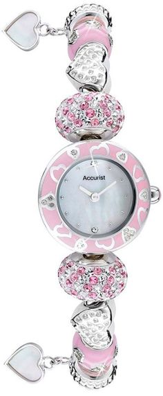 Pink and Silver Accurist Ladies Charmed Watch £81.00