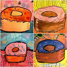 My blog....donuts with paint and oil pastels.