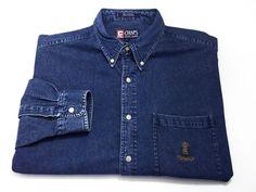 Chaps Ralph Lauren L Men's Blue Denim Cotton Long Sleeve Button Front Large #ChapsRalphLauren #ButtonFront
