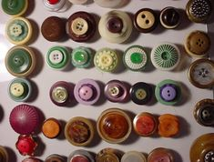 Refrigerator magnets made from vintage buttons