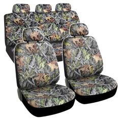 Hawg Camo Seat Covers Forest Pattern Camouflage Cushion Grip Steering Wheel Cover Set for Auto Truck Car SUV