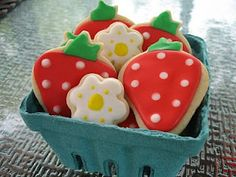strawberry cookies in strawberry container.  i love it!