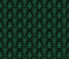 This is hand drawn pattern that retains a chunky organic quality below the assumed symmetry of the damask. It was created to scratch a somewhat subversive itch; taking some themes  of ambiguous horror, maybe with some unspecified lovecraftian traits, and dressing it in formalwear.