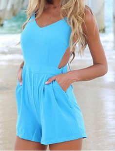High-Waisted Sleeveless Backless V-Neck Solid Color Women's RomperJumpsuits & Rompers   RoseGal.com