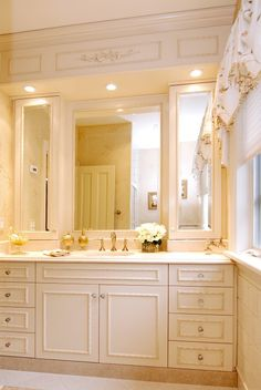 Vanity tower cabinets - these are recessed into the wall some so they don't take up as much counter space
