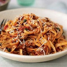 Linguine w/ Pancetta & Parmesan, 4 servings, 1-1/2C pasta & 1 Tbsp cheese = 334C, 8.3g Fat (from Cooking Light)