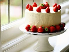 Strawberry Filled Layer Cake - Devil's Food Cake and Angel Cake with Whipped Cream Frosting