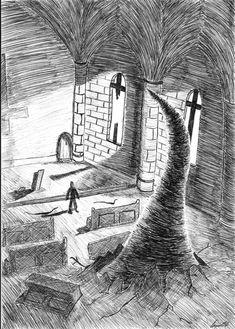 "Fan art from ""Jerusalem's Lot"", from the short story collection ""Night shift"". By Agustin SB Salem Lot, Stephen King Books, Night Shift, Ink Pen Drawings, Horror Art, Horror Stories, Jerusalem, Book Art, Scene"