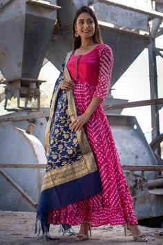 Buy Mojari Flake Pink Bandhani Silk Anarkali With Blue Banarasi Dupatta Dress Neck Designs, Kurti Neck Designs, Kurta Designs Women, Kurti Designs Party Wear, Saree Blouse Designs, Indian Designer Outfits, Designer Dresses, Bandhani Dress, Saree Dress