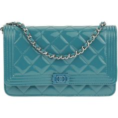 Pre-owned Chanel Teal Patent Leather Boy WOC Wallet On Chain (7.835 BRL) ❤ liked on Polyvore featuring bags, handbags, blue patent leather handbag, faux-leather handbags, chain purse, blue handbags and chain strap handbags
