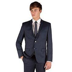 Red Herring - Blue semi plain 2 button front slim fit suit jacket