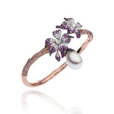 Autore Orchid Curly Pinks South Sea pearl bracelet