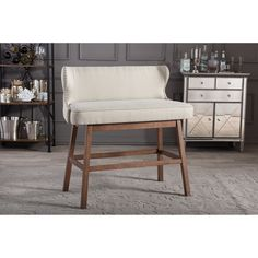 Baxton Studio Gradisca Modern And Contemporary Beige Fabric Button Tufted  Upholstered Bar Stool Bench Banq
