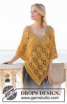 Crocheted poncho in DROPS Cotton Light. The piece is worked with lace pattern. Sizes S - XXXL. Design poncho Butterfly Migration / DROPS - Free crochet patterns by DROPS Design Crochet Poncho Patterns, Crochet Shawl, Hand Crochet, Crochet Lace, Free Crochet, Cotton Crochet, Cotton Lace, Drops Design, Drops Cotton Light