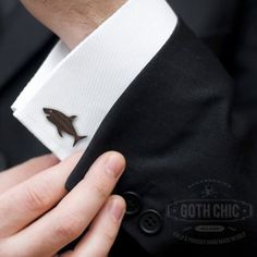 Shark Cufflinks - Organic Rosewood laser cut