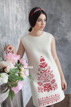 """Купить Платье валяное """"Дерево жизни"""". - белый, орнамент, платье, Платье нарядное, платье коктейльное"""