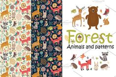 Forest. Animals and patterns Forest animals. Vector illustration. Set for design and decoration. By Anna Guz. #affiliatelink