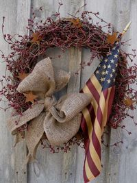 4th of July Wreath, I need stars and wash flag with coffee to antique. I have everything else.
