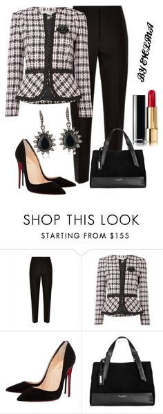 """""""EVE"""" by evelina-er ❤ liked on Polyvore featuring Jaeger, Tahari by Arthur S. Levine, Christian Louboutin, Tignanello and Carolee"""