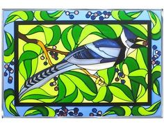20x14 Stained Art Glass BLUE JAY Bird Window Panel Suncatcher
