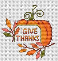 An Idea for a cross stitch card dedicated to the US National Day - Thanksgiving. Fall Cross Stitch, Cross Stitch Cards, Cute Cross Stitch, Cross Stitch Kits, Counted Cross Stitch Patterns, Cross Stitch Designs, Cross Stitching, Cross Stitch Patterns Free Christmas, Christmas Cross Stitch Patterns