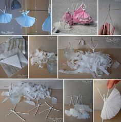 DIY Wire and Napkin Ballerina Craft - Top Creative Ideas Cute Crafts, Easy Crafts, Crafts For Kids, Arts And Crafts, Diy Projects To Try, Craft Projects, Craft Ideas, Project Ideas, Diy Ideas