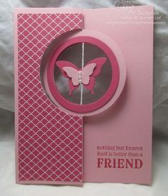 handmade card making ... photo tutorial ... porthole flip card ... monochromatic pinks ... like the hanging butterfly ... probably would work for a spinning element upon opening the card ... Stampin' Up!