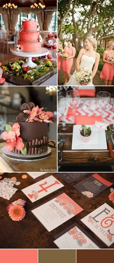 rustic coral and brown wedding inspiration