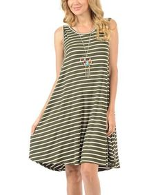 Another great find on #zulily! Olive & White Thin-Stripe Hi-Low Tank Dress #zulilyfinds