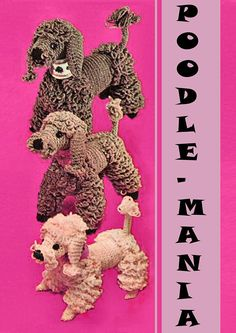 Lovely 1950 Vintage Crochet Pattern to make a Whole Poodle Family - Mother, Father and Baby Poodle of Stuffed Retro Toys Crochet Hook size G and 4 ply Sewing Toys, Free Sewing, Poodles, Small Poodle, Father And Baby, Organize Fabric, Crochet Hook Sizes, Retro Toys, Stuffed Toys Patterns
