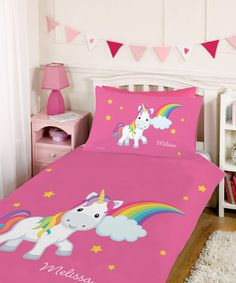 Look at this Rainbow Unicorn Personalized Duvet Set by Spark & Spark Unicorn Bedroom Decor, Unicorn Rooms, Duvet Sets, Duvet Cover Sets, Unicorn Duvet Cover, Unique Duvet Covers, Rainbow Bedroom, Fantasy Bedroom, Little Girl Rooms