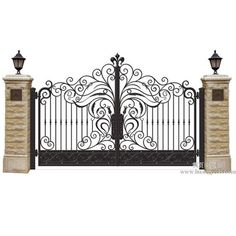 Beautiful Double Opening Garden Main Wrought Iron Gate For Sale , Find Complete … Front Gate Design, Main Gate Design, House Gate Design, Door Gate Design, House Front Design, Fence Design, Iron Gates Driveway, Iron Garden Gates, Iron Gates For Sale