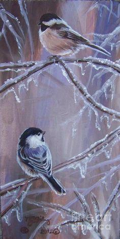 Chickadees Painting - Chickadees On Ice by Nancy J Bailey