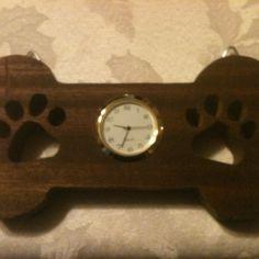 Wooden dog bone shaped clock by Fine Crafts on Opensky