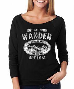 SignatureTshirts Black Not All Who Wander Raglan Tee   zulily