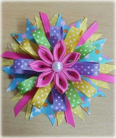 Discover thousands of images about Never thought to use this tubing for hair bows like this. Ribbon Hair Clips, Flower Hair Bows, Ribbon Art, Diy Hair Bows, Ribbon Crafts, Ribbon Bows, Ribbons, Rainbow Headband, Hair Bow Tutorial