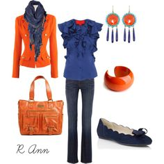 """""""orange and blue""""  love the combo- earrings are amazing  but for $7,000?"""