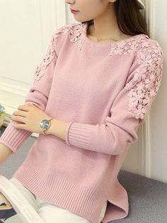 Round Neck Patchwork Floral Knit Pullover - Outfit of the day Knitwear Fashion, 70s Fashion, Fashion Dresses, Fashion Tips, Womens Knitwear, Latest Fashion, Trendy Fashion, Spring Fashion, Fashion Online
