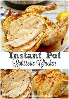 A super quick and easy recipe to make Instant Pot Rotisserie Chicken in 25 minutes!!