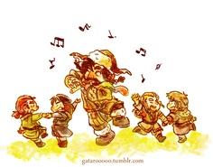 Bofur with Gimli, Kili, Fili, & Ori. ^_^