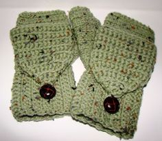 Convertible Fingerless Mittens in Frost by CreativeEndeavorsKS