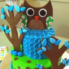 Owl baby shower cake, it's a boy!