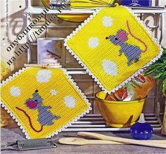 mouse and cheese crochet potholder Crochet Kitchen, Crochet Home, Love Crochet, Knit Crochet, Crochet Potholders, Crochet Squares, Crochet Diagram, Crochet Patterns, Crochet Hot Pads