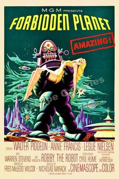 Forbidden Planet 1956 Vintage Old Sci-Fi Movie Poster - 24x36 #Vintage