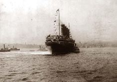 LUSITANIA, 1907 1914, New York City: stern view, NYC, maiden voyage. It was taken in 1907.