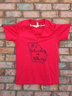 UGA It's Saturday in Athens Glitter VNeck by JanaBelles on Etsy, $22.95 These V Necks are so comfy!!!