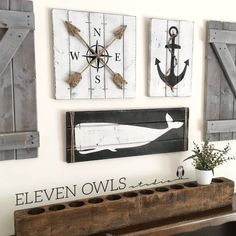 NAUTICAL ART SET, 3 piece set, rustic beach house decor, Wooden Nautical Decor, Anchor decor, Whale decor, Nautical decor, Nautical nursery, by ElevenOwlsStudio on Etsy https://www.etsy.com/listing/293886455/nautical-art-set-3-piece-set-rustic