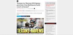 Texans vs. Ravens 2013 game preview: Can Baltimore hold court at home? http://www.sbnation.com/nfl/2013/9/22/4742826/ravens-texans-2013-game-preview-nfl-week-3